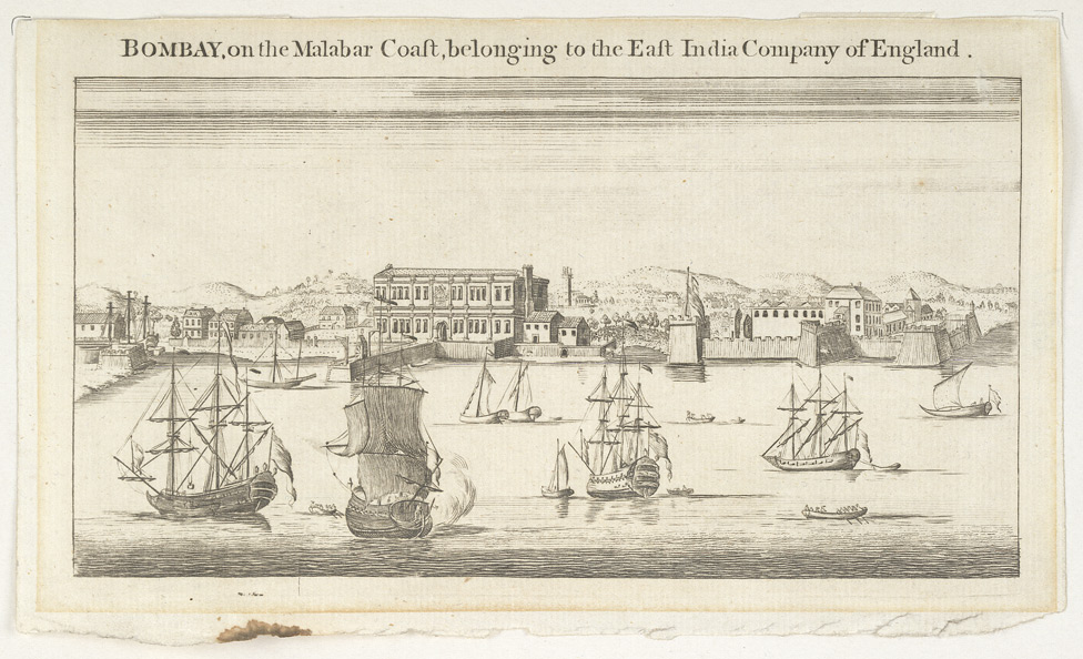 'Bombay on the Malabar Coast belonging to the East India Company of England.'  Reduced version of the engraving by Jan Van Ryne of 1754.
